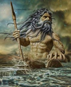 Poseidon a.a Neptune. Greek Mythology Tattoos, Greek And Roman Mythology, Greek Gods And Goddesses, Fantasy, Poseidon Tattoo, Les Runes, Roman Gods, Mermaids And Mermen, Vampire
