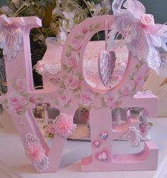 shabby pink LOVE sign