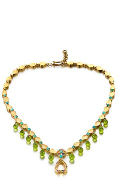 Shop One-Of-A-Kind Gold Hammered Multi-Sapphire Turquoise Peridot Necklace by Madhuri Parson for Preorder on Moda Operandi