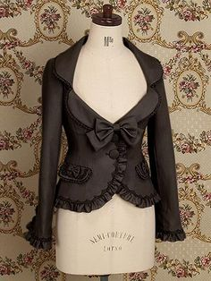 Emmanuel Frill Jacket by Mary Magdalene Black. Frill Jackets, Outerwear Jackets, Diy Schmuck, Lolita Fashion, Steam Punk, Cute Tops, Refashion, Dress To Impress, Cute Outfits