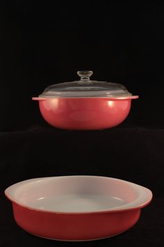Vintage Pyrex Flamingo 2 Quart 024 Casserole Dish and 8 Inch 221 Cake Pan with 10 408 Lid by BirdAvenueVintage on Etsy