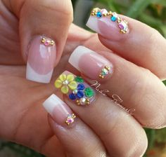 X 3d Nails, Cute Nails, Pretty Nails, Fabulous Nails, Perfect Nails, 3d Nail Designs, Sparkly Nails, French Nails, French Manicures