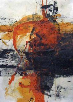 dailyartjournal:    Yuko Wada, untitled, sumi, beeswax, stain on paper