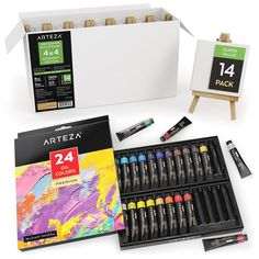 Oil Painter's Bundle Set by Arteza. Great oil painting supplies for beginners who are looking to get started! They have 24 oil paint tubes set, 14 easels pack mini - overall just a bunch of oil paint products for beginners to start painting!