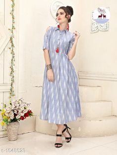 Stunning Designer Cotton Ikkat Printed Kurtis Fabric: Cotton Sleeves: Sleeves Are Included Size: L - 40 in, XL - 42 in Length: Up To Printed Kurti Designs, Simple Kurti Designs, Salwar Designs, Kurta Designs Women, Kurti Designs Party Wear, Blouse Designs, Sleeve Designs, Stylish Dresses For Girls, Stylish Dress Designs