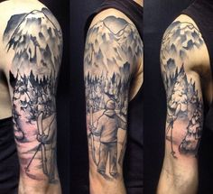 Mountain and cross country skier tattoo half sleeve. Canadian tattoo. Alberta tattoos. Winter trees and mountain half sleeve