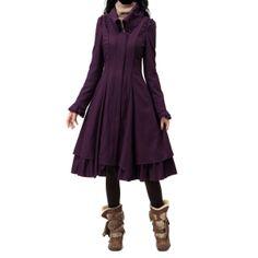 Artka Women's Winter Super Long Swing Hem Ruffle Pleat Woolen Dress Coat at Amazon Women's Clothing store