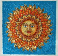 Sun Face ' Beaded Embroidery Picture by gayhuntley on Etsy, amazing find Sun Moon Stars, Sun And Stars, Good Day Sunshine, Beads Pictures, Sun Designs, Sun Art, Face Art, Bead Art, Beaded Embroidery