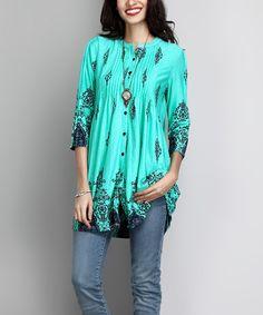 Look at this #zulilyfind! Turquoise Damask Button-Down Pin-Tuck Tunic #zulilyfinds
