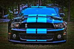 Black With Grabber Blue Stripes..very nice!