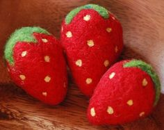 Three Needle Felted Strawberries by greenbaboondesigns on Etsy, $13.00
