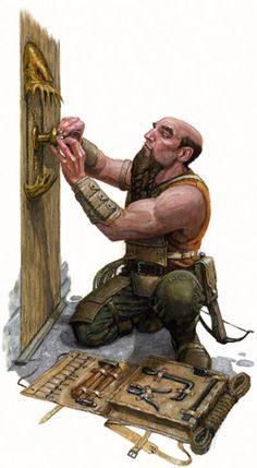 Dungeons & Dragons a Dwarf Setting up a Trap