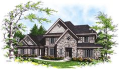 French-Country Style House Plans - 2637 Square Foot Home, 2 Story, 4 Bedroom and 3 3 Bath, 3 Garage Stalls by Monster House Plans - Plan 7-2...