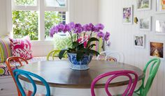 Coloured chair and fab wood/white round table