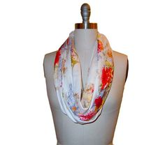 Floral circle scarf, infinity scarf, cotton scarf, red yellow orange floral