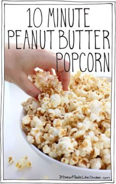 10 Minute Peanut Butter Popcorn. A quick and easy, lightly sweet, drizzled, creamy, peanut buttery, healthy snack. My new favourite nibble to quickly whip up for movie watching. Vegan and dairy free. #itdoesnttastelikechicken