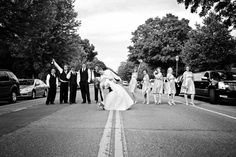 Who said The Beatles were the only ones who could do a monumental street photo?!  #MinneapolisWeddingPhotography #WeddingParty