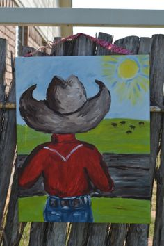 Cowboy Painting... Boys Western Cowboy Wall Art... Western Decor... Ranch Wall Art... Boys Room Decor... Rodeo Art... Farmer Decor on Etsy, $36.00
