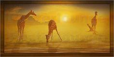 """Poster: """"Giraffen am Fluss"""" - Romantic Wall Art by Mausopardia - Romantische Wandbilder von Mausopardia bei Posterlounge!"""