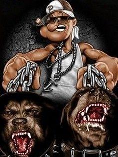 gangster cartoon photos | PSD Detail | Popeye gangsta ...