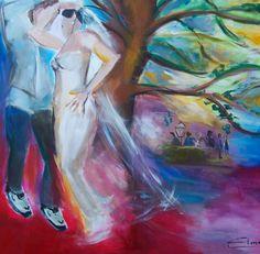 Live op locatie geschilderd tijdens een bruiloft in Oegstgeest