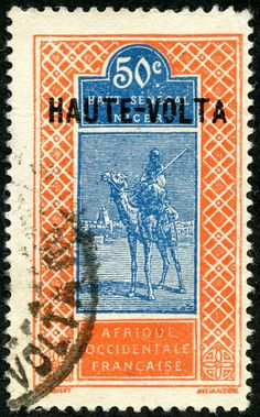 "Upper Volta  1925 Scott 22 50c red orange & blue Black Overprint; ""Camel with Rider"" Stamps and Types Upper Senegal and Niger, 1914-17"