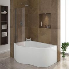 Corner bath showers are fantastic bathroom ideas for a small bathrooms because they use up the corners of the room which it turn can create more space. The Estuary shower and tub combination includes a curved shower screen with this modern bathtub design.