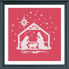 A lovely Christmas cross stitch pattern in only one color. Easy stitching and great result. The pattern comes as a PDF file that youll will be able to download immediately after purchase. In addition the PDF files are available in you Etsy account, under My Account and then Purchase after payment has been cleared. You get a pattern in colorblocks and symbols, a pattern in black and white symbols, and a list of the floss colors youll need. You also get an PDF file with cross stitch…