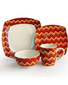Invite your family over for a delicious meal served on this classic American Atelier Zigzag 16 Piece Dinnerware Set. This Dinnerware will lend elegance to any tabletop. Dinnerware Sets For 12, Square Dinnerware Set, Red Dinnerware, Red Party Themes, Plates And Bowls, Salad Plates, Valentines Day Weddings, Dinner Sets, Ceramic Clay