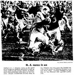 Oct. 19, 1969: Raiders 50, Bills 21. Lamonica threw for 6 TDs, all in the first half and none of which I saw. Here's how it went in the god-awful east side bleachers: Whenever Lamonica dropped back to pass, everyone stood up. By the time I climbed on top of the bleacher bench to gain a vantage point, the 6 points were on the board and the Raiders were slapping each other on the back. Buffalo rookie O.J. Simpson ran six times for 50 yards. Pretty sure I had a kraut dog. Pretty sure it was…