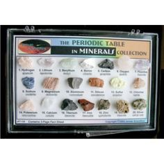 The Periodic Table in Minerals  his study collection gives you a new, hands-on way to actually experience the elements of the Periodic Table. Colorful mineral samples containing the individual elements are provided for detailed examination and admiration.