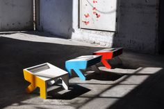 A little stool NoBigThink, catchy with nice colors. Stool for kids and grownups.