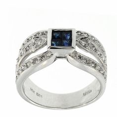 0.96 Cttw Round Diamonds and Princess Cut Sapphire Cocktail Ring in 14K White Gold by GetDiamondsDirect on Etsy