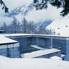 Therme Vals is a truly extraordinary site for reaping the benefits of the thermal waters and admire the snow capped alpine summits - #Hotel #Therme Vals, Vals, #Switzerland - source: archdigest.com #luxurydreamhotels