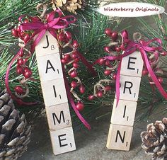 Personalized Scrabble Ornament ... I can never find my kids names on personalized items... so we are going to MAKE OUR OWN! love this!