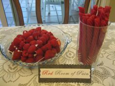 Red Room of Pain-Red Vines and Raspberries on zip ties!  50 Shades of Grey Party 50 Shades Party, 50 Party, Party Time, Party Appetizers, Pure Romance Party, Passion Parties, Red Rooms, Bachlorette Party, Raspberries