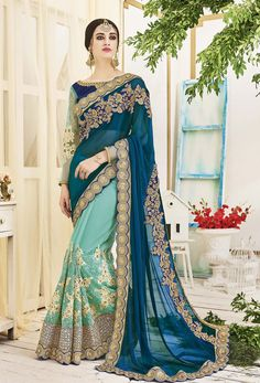 Women s Clothing - Wedding Wear Multicolour Chiffon Saree - 2503 - Products Details : Style : Party Wear Saree / Half-Half Saree Size : Length Of Saree : - Wedding Wear M Designer Silk Sarees, Designer Sarees Online, Chiffon Saree, Fancy Sarees, Party Wear Sarees, Indian Dresses, Indian Outfits, Indian Clothes, Lehenga Choli