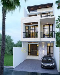 Alvin Private House - Sunter, Jakarta- Quality house design of architectural services, experienced professional Bali Villa Tropical designs from Emporio Architect. Modern Small House Design, Small House Exteriors, Small Modern Home, Minimalist House Design, Small Modern House Exterior, Narrow House Designs, 3 Storey House Design, Bungalow House Design, House Front Design