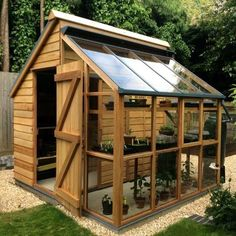 Garden design ideas: greenhouse + shed combination ., Garden design ideas: greenhouse + shed combination While age-old with idea, the pergola has become enduring somewhat of a. Painted Garden Sheds, Garden Shed Diy, Diy Shed, Dream Garden, Garden Shed Exterior Ideas, New Build Garden Ideas, Cool Garden Ideas, Backyard Garden Ideas, Garden Farm