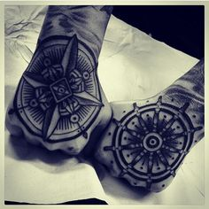 Awesome compass hand tattoo..