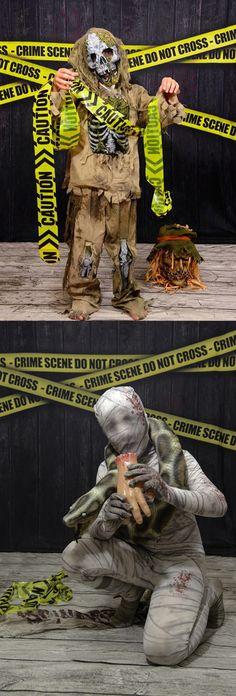 Spooky Mummy & Zombie Halloween Photos Featuring Crime Tape Backdrop from Backdrop Express. Photos Courtesy of Tripod Photography Halloween Photography, Halloween Photos, Tripod, Backdrops, Crime, Tape, Prints, Movie Posters, Movies