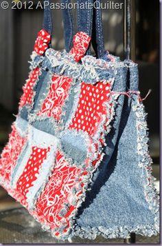 The Denim Circle Rag Bag pattern using recycled jeans.   www.InventiveDenim.com