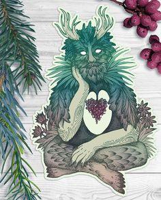 Grüner Mann Vinyl Aufkleber - mythologische Kreatur - Wald Geist, Nymphe, Fee…