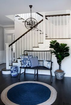 Seating creates an opportunity to add visual interest through an upholstered bench seat or loose scatter cushions in a Hamptons entryway. Hamptons Style Decor, Hamptons House, The Hamptons, Cool Room Designs, Brick Cladding, Decoration Inspiration, Decor Ideas, Room Ideas, Design Inspiration
