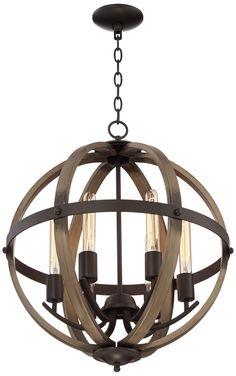 """Kimpton 6-Light 21"""" Wide Dark Bronze Orb Chandelier"""