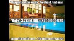 """Shane's Property of the week""   ""REDUCED"" Freehold 3 Bedroom villa in Jimbaran – ""Under market value"" – Great buying ""Only 3.2M"" = $250,000 USD Great Location – for further information or to view please contact Shane:  Shane Walsh / Bali Property Walsh / @balipropertywalsh shane@ppbali.com  or +6281338276772 	 #freehold #jimbaran #great #buying #reduced #location #Indonesia #Bali #balirealestate #balipropertywalsh #property #realestate #shanewalsh #shanebali ‬‬‬‬‬‬‬‬‬‬#sea #surf #restaur"