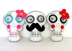 Day of the Dead Sugar Skull Pillow by TheDollCityRocker on Etsy, $20.00