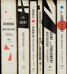 Kitsune Noir, Dostoevsky book covers. This is a beautifully dynamic way to create a unified collection: all are different, yet similar enough to be obviously related. The constructivist design and minimalism suggests Russia and is very expressive of Dostoevsky's heavy material. The different placements of the publisher's logo is also very interesting.