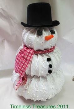 Timeless Treasures : Dryer vent hose Snowy Snowman Tutorial - Timeless Treasures : Dryer vent hose Snowy Snowman Tutorial Best Picture For decoration flowers F - Christmas Snowman, Winter Christmas, Christmas Holidays, Christmas Ornaments, Christmas Jokes, Office Christmas, Snowman Crafts, Christmas Projects, Holiday Crafts