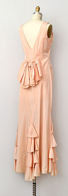 1930s silk ruffled gown